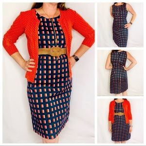 Ann Taylor Navy & Orange Sleeveless Sheath Dress